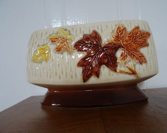 sylvac 4008 vintage flower pot leaf design maple leafs 60s 70s