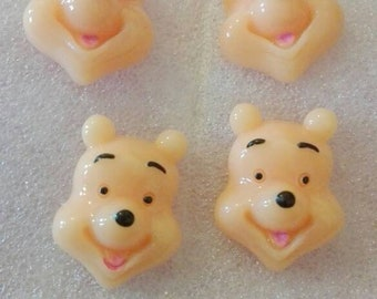 Pack of 4 Winnie the pooh face resin embellishments for card/cake/bow making