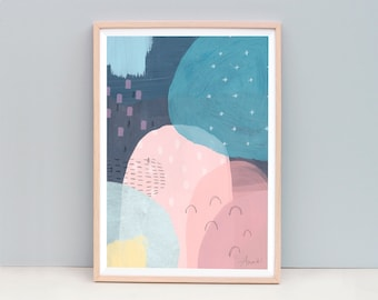 Modern Abstract Painting, Nursery Abstract Art, Navy Blue Abstract, Pink and Blue Art, Mountain Art, Abstract Painting, Dark Blue Art
