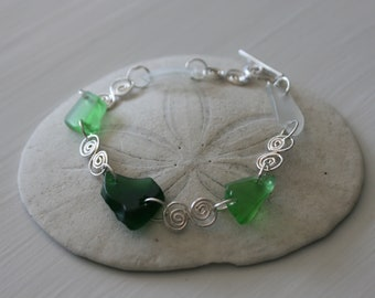 Green Recycled Glass & Sterling Silver Bracelet