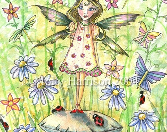 Fairy Art Print - Fairy Princess in the Garden - Colorful and Whimsical Fine Art Print by Molly Harrison 8 x 10