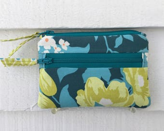 Womens Fabric Wallet, Pocket Zipper Wallet, Cloth Coin Purse, Floral Change Purse, Small Floral Wallet, Fabric Zipper Wallet, Bright Flowers