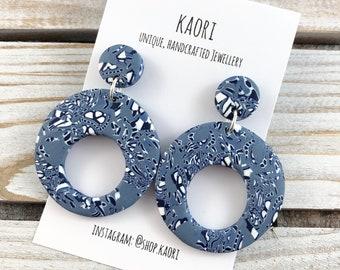 Earrings - Handcrafted polymer clay stud circle dangle earrings in denim blue