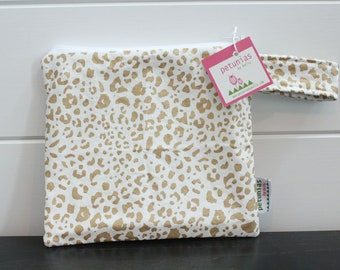 65f1c6b666 wetbag wet bag The ICKY Bag petite gold leopard cheetah modern baby gift  waterproof gym sports cloth diaper pouch zipper handle baby gift