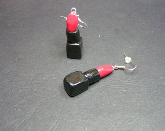 red lips in polymer clay earrings