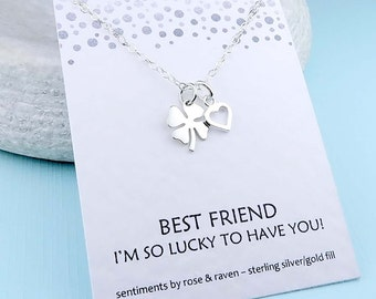 Silver Clover Necklace - best friend - lucky to have you message card