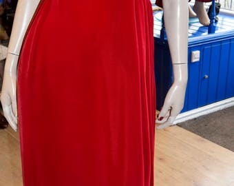 "1960's Red Velvet Evening Gown 34"" bust 26"" waist"