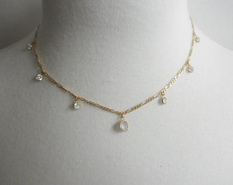 Cubic Zirconia necklace with 7 CZ  charm dangles