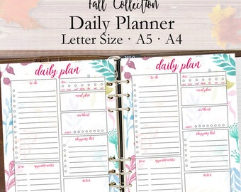 Daily Planner 2018, To Do List, Printable Planner Pages, 2018 Daily Plan Inserts, Day Plan Sheets, Letter A4 A5 Printables Instant Download