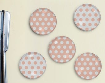Polka Dot Magnets - Dots, Pattern, Light Pink, Office, Organization, Home Office, Refrigerator, Fridge, Kitchen, Organize, Gift, Pattern