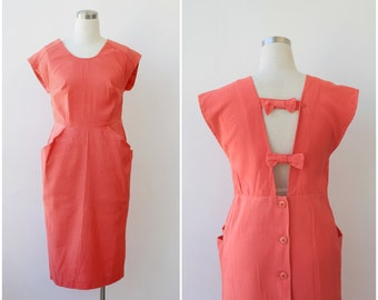 1980s Party Dress L Open Back Cocktail Dress Coral Mini Cutout Evening Dress Large