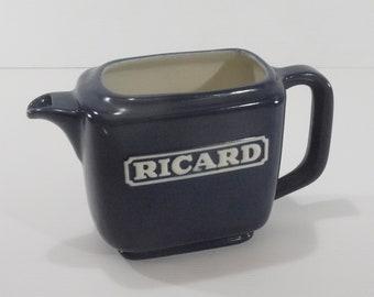 French Ricard Large Ceramic Water Jug, Vintage Rectangular Blue Pitcher, Barware Collection