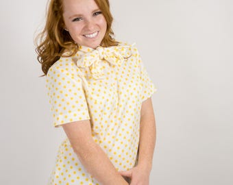 Vintage 70s Business Casual Yellow and White Polka Dot Blouse With Neckbow