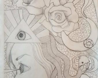 "Framed Pencil Drawing ""Kaleidoscope"""