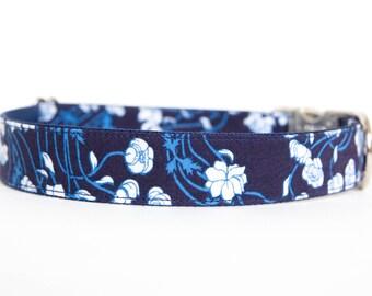 Dog Collar - Indigo Floral