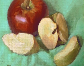 Original Painting // Still Life with Red Apples and Green Apples // Acrylic Art // Red, Yellow and Green 10 cm x 10cm