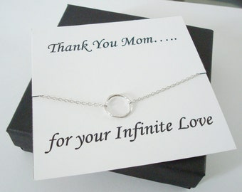 Infinity Twiggy Circle Silver Necklace ~~Personalized Jewelry Gift Card for Mom, Mother in Law, Mother of Groom, or Step Mom, Thank You Card