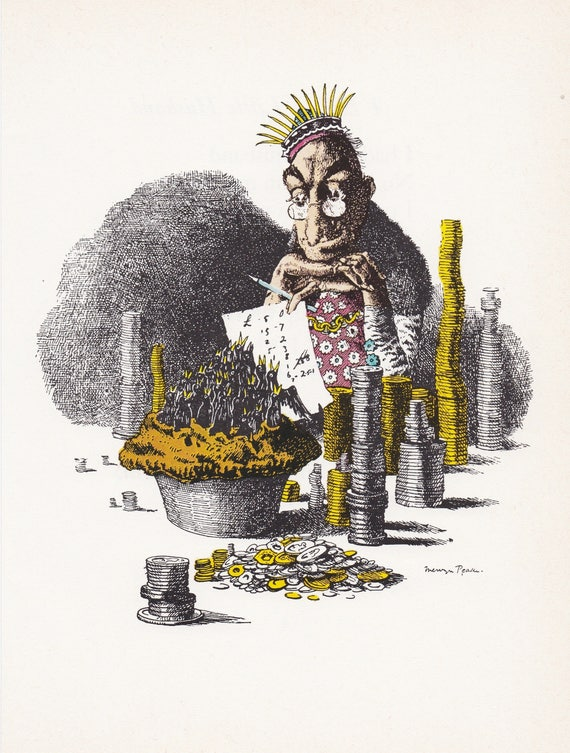 """Illustration of nursery rhyme """"Sing a Song of Sixpence"""", by Mervyn Peake, 9.75 x 7 inches, 1975 book illustration"""