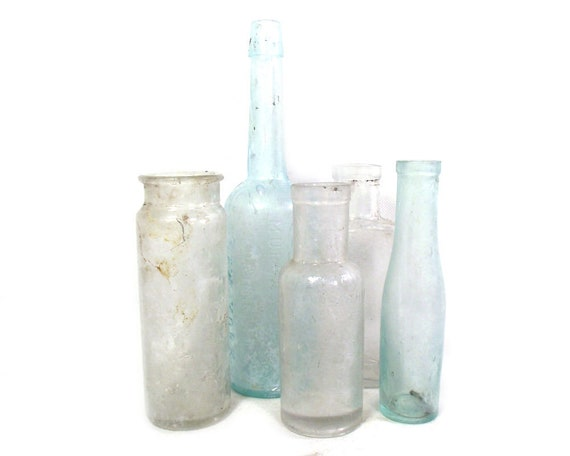 "9"" Tall Antique & Vintage Set of Glass Bottles and Jars"