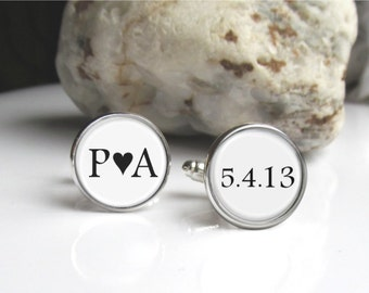 Groom Cufflinks, Custom Initials And Date Cufflinks, Keepsake Wedding Cufflinks