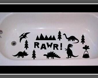 Non-skid decal for bathtub, shower Dinosaur Scene Rawr!
