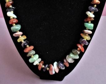 Semi Precious Gemstone Necklace Beaded Necklace Polished Nuggets Quartz Jade Carnelian Amethyst Vintage Necklace Gemstone Boutique Jewelry