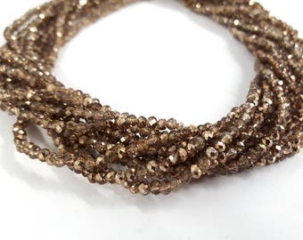 3mm Chinese Crystals Rondelles Gold Finish 16""