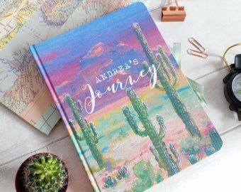 Hand made notebooks / travel journals, featuring my 'Vibrant Desert' design, 3 sizes available, personalise with any text of your choice