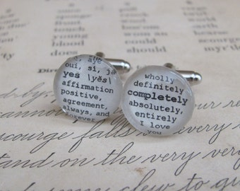 Yes Completely Wedding, Engagement, Anniversary Cuff Links Dictionary Glass Gem by Kristin Victoria Designs