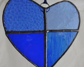 Blue Heart in Stained Glass Suncatcher Light Catcher