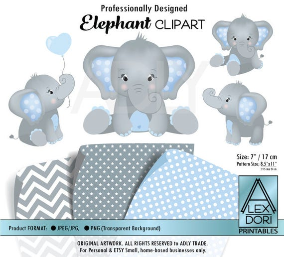 Gray Elephant Clipart Baby Blue and grey peanut clip art png