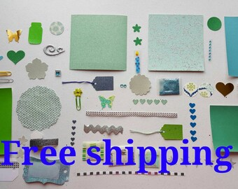Blue and green sparkly kit. Smash book kit. Junk journal kit. Art journal kit. Scrapbook kit. Free shipping.