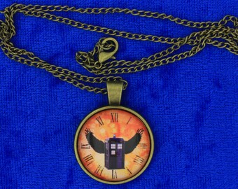 Dr Who Winged Tardis Police Box Necklace or Keychain Wings Doctor Who