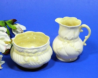 Irish Belleek Ribbon Pattern Creamer and Sugar Cob Luster
