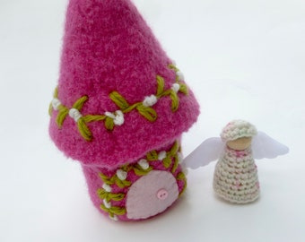Mini Felted fairy Cottage with peg doll gnome ready to ship