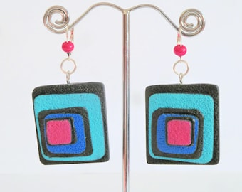 Intense colors polymer clay earrings