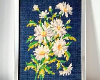 French Vintage Cross Stitch,Finished Cross Stitch, Finished Needle Point, Floral Cross Stitch Art, Cross Stitch Decor