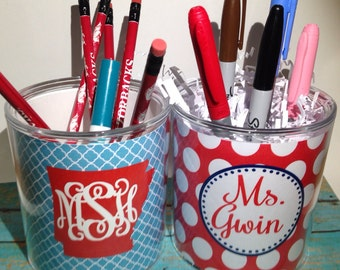 Monogrammed pencil cup, Personalized pencil cup, pen cup, desk accesory, monogrammed pen cup, personalized teacher gift, teacher gift