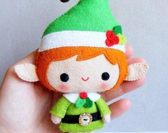 Felt PDF pattern - Santa's Elf - Felt Christmas decoration, hand sewing, felt softie, digital item