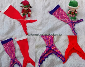 Crochet mermaid christmas stocking AND crochet warm bobble hat set