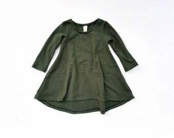 OLIVE Long sleeve swing dress, high low dress, long sleeve dress, baby dress