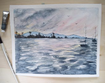 Harbor Watercolor, Harbor Painting, ocean Painting, Ocean Art, Sailboat Painting, Sailboat Watercolor, Sailing Art, Coastal Art, Beach Art