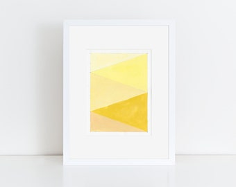 Geometric Abstract Painting, 12x9, Yellow & Pastel  NY1664