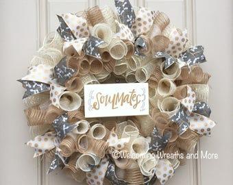 Wedding Wreath, Bridal Wreath, Burlap Wedding Wreath, Bridal Shower Decor, Wedding Door Wreath, Newlywed Wreath, Wedding Decor, Wedding Gift