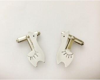 Llama Cufflinks in Sterling Silver