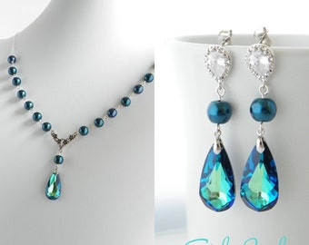 Peacock Bridal Jewelry Set, Blue Pearl Bridal Jewelry, Peacock Wedding Jewelry, Beach Bridal Jewelry, Blue Crystal Earrings and Necklace