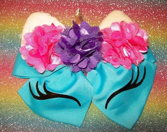 Unicorn Hair Bow - large double bow with ponytail elastic on back - Turquoise