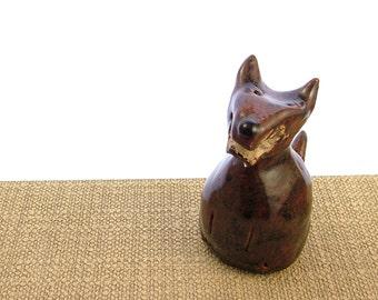 Stoneware Clay Fox Ornament - Fox Sculpture - Clay Fox - Pottery Animals