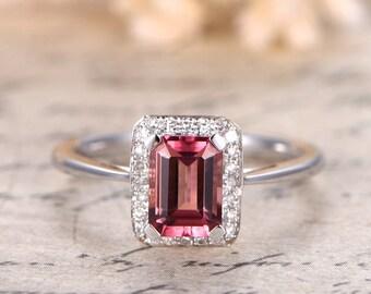 Pink Tourmaline Engagement Ring 5x7mm Emerald Cut Tourmaline Ring 14K White Gold Emerald Cut Engagement Ring Diamond Halo Ring