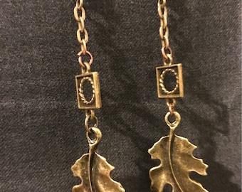 Minimalist antique gold leaf drop 1